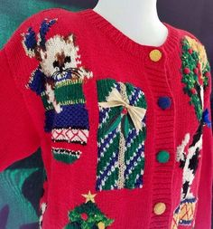 UGLY TACKY Christmas Cats Cardigan Sweater Embroidered Red Beaded Petite Small #MarisaChristina #Cardigan