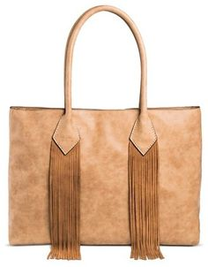 Merona® Women s Tote Handbag with Suede Fringe Honey Brown - MeronaTM Suede  Handbags a786ca1e070bc