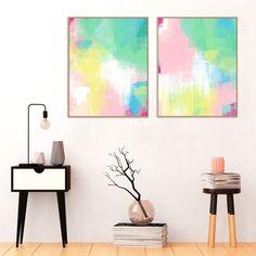 Pink Yellow & Green Abstract Art Printable Decor Modern