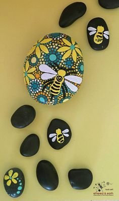 Painted Stones Mandala Inspired Design Bee Motif Rock Art Natural Home Decor One Of A Kind Gift Yellow Shades Orange Collection 33