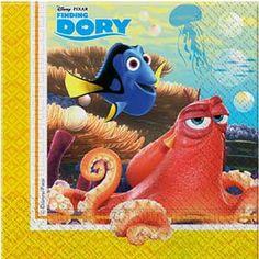 20 servetjes van de populaire Disney film Finding Dory. De servetjes zijn 33cm bij 33cm en zijn bijvoorbeeld heel geschikt voor bij de taart of voor bij een lunch of avond eten.