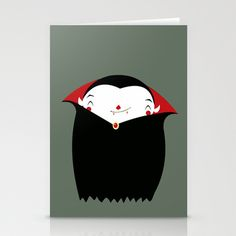 happy little vampire Stationery Cards by Maria Medel Rodriguez - $12.00