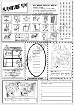 Furniture Fun - ESL worksheet by sazzag Fun Worksheets, Vocabulary Worksheets, Color By Numbers, Esl, Cookware, Appliances, English, Draw, Colour