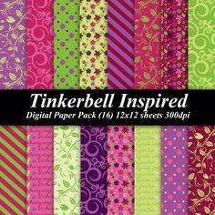 BUY 2 GET 1 FREE - Tinkerbell Inspired Digital Paper Pack (16) 12x12 sheets 300 dpi scrapbooking invitations birthday party girl disney. $4.00, via Etsy.