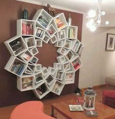 This is so cool - Very creative bookcase made up of different sized boxes.