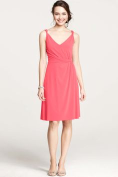The charming spaghetti strap deep v-neck rose chiffon knee-length bridesmaid dress with the simple generous bodice and the natural skirt