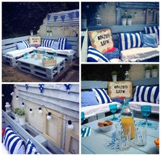 Pallet Garden Nautical Furniture Set And Sign