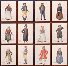 Antique watercolor of Ethnographic paintings of Danish Folk Costumes in Scandinavia 1939 Folk Costume, Costumes, Costume Ideas, Kingdom Of Denmark, Poster Pictures, Fashion Plates, Pattern Art, Folklore, Old World