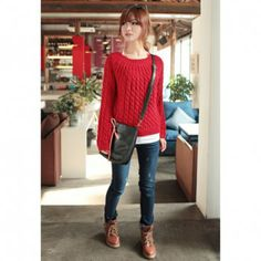Concise Round Neck Solid Color Loose Fit Long Sleeve Cable-Knit Women's Sweater, RED, ONE SIZE in Sweaters & Cardigans | DressLily.com