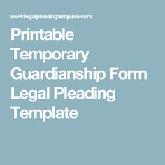 free printable guardianship forms