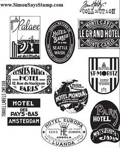 *Tim Holtz Cling Rubber Stamps TRAVEL LABELS CMS108 2011
