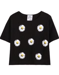 Black Short Sleeve Daisy Print T-Shirt - Sheinside.com