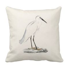 Vintage white black elegant heron bird throw pillow - black and white gifts unique special b&w style