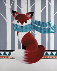 """""""Woodland Fox"""" Social Artworking Canvas Painting Design -- Customize this cozy little fox by swapping out the colors to match your decor. The clean, graphic styling of this woodland icon makes him appropriate for almost any decor.  CANVAS SIZE:  16"""" x 20""""  TIME TO PAINT:  approximately 2 hours 30 minutes"""