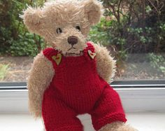 Teddy Bear Clothes, Hand Knitted Red Wooden Heart Dungarees, to fit a 11 inch bear, Dolls Clothes, Toy Clothes, Ready To Ship/Post