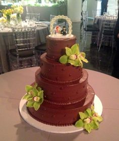 4 tier chocolate wedding cake with fresh orchids and Lego topper - Sweets by Millie