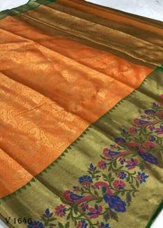 Sarees Online | Buy Sarees Online |@ ibuyfromindia.com Kora Silk Sarees, Kanjivaram Sarees, Fancy Sarees, Party Wear Sarees, Yellow Saree, Organza Saree, Work Sarees, Beautiful Saree, Saree Wedding
