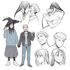 A tall witch and her small vampire boyfriend. A tall witch and her small vampire boyfriend. Witch Art, Wow Art, Character Drawing, Character Design Inspiration, Cute Drawings, Cute Art, Art Sketches, Art Inspo, Amazing Art