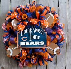 Home Sweet Home Any Team nfl mlb nhl nba Wreath by ourinspiredcreations on Etsy https://www.etsy.com/listing/206265851/home-sweet-home-any-team-nfl-mlb-nhl-nba