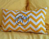 Monogrammed Pillow, Personalized Embroidered Throw Pillow - Village Brown Chevron Print. $29.50, via Etsy.@Amelia Flora