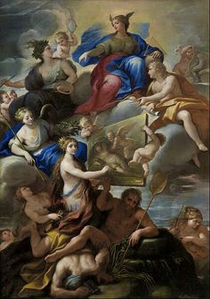 Paolo De Matteis  (1662/1728)  Allegory of Knowledge and the Arts in Naples  Date1650/1699Medium  Oil on canvas  Dimensions  w253 x h367 x d3.8 cm (without frame)  Current location  Museum of Fine Arts, Houston