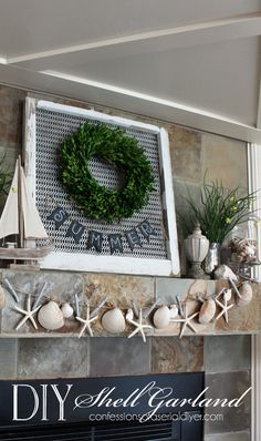 DIY Shell Garland Make a shell garland to add a splash of Summer to your decor! Fireplace Design, Fireplace Kitchen, Coastal Decor, Coastal Living, Nautical Home, Beach Crafts, Decor Crafts, Home Decor, Seasonal Decor