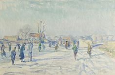 Hendrik Jan 'Henk' Wolter (1873-1952) Skaters on the Boerenwetering, Amsterdam, oil on canvas 40.5 x 60.6 cm., signed l.r. and carries studiostamp and painted in 1915. Collection Simonis & Buunk, The Netherlands.