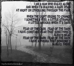 Iron Maiden Fear Of the Dark Lyric Picture. Rock Music Quotes, Lyric Quotes, Music Words, Music Lyrics, Motley Crue Albums, Dark Lyrics, Iron Maiden Band, Learn Guitar Chords, Fear Of The Dark