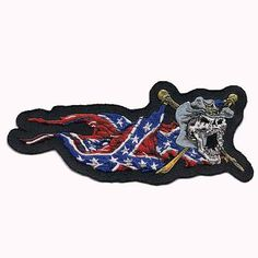 This 100 yankee skull patch embroidered iron on patch has amazing detail Rebel Skull patches Yankee Patches Confederate skull patches It can be ironed or sewed onto anything you can get your hands on A good pairing with our USA Skull patch or the Pirate Skull Patches, Flag Patches, Biker Patches, Iron On Patches, Harley Davidson Womens Clothing, Reaper Tattoo, Confederate Flag, Baby Tattoos, Car Shop