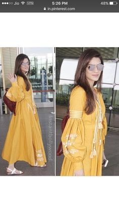 Airport Spotting ✈️ ✈️ - The gorgeous star Kriti Sanon snapped at the airport looking as bright as a sunflower. Kurta Designs Women, Kurti Neck Designs, Kurti Designs Party Wear, Pakistani Dresses, Indian Dresses, Indian Outfits, Kurti Sleeves Design, Sleeves Designs For Dresses, Outfits Otoño
