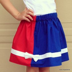 A Color Block Skirt for Chloe - Sew Patriotic! by Angela Bowman of www.AngelaB.me    #konacotton via @Robert Kaufman Fabrics