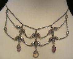 "Pretty 18"" Vintage Brass Tone Crystal Bib Necklace A23"