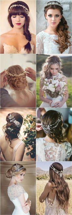 wedding hairstyles with wedding bridal headpieces / http://www.deerpearlflowers.com/amazing-wedding-hairstyles-with-headpiece/2/