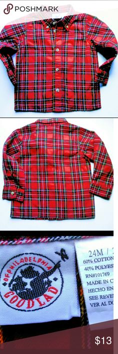 🎯  BOYS CLASSIC BUTTON DOWN Holiday colors and classic look.  Good Lad ref plaid button down shirt.  Size 24mo EUC Ask B4 you buy! Good Lad Shirts & Tops Button Down Shirts