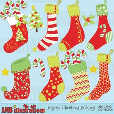 CHRISTMAS STOCKING CLIPART - adorable stockings for crafts, scrapbooking, card making and more.