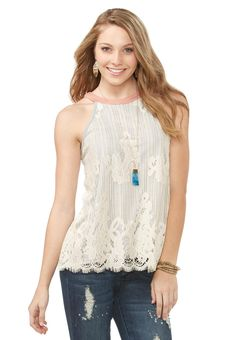 Lace Overlay Cleo Tank- Plus