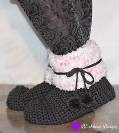 """Funfetti Sloots crochet pattern from Blackstone Designs Also available in Child & 18"""" Doll sizes #crochet #slippers"""