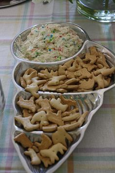 """Dunkaroo"" Dip take a box of Funfetti and mix it with 1/2 a large carton of plain yogurt and 1/2 a container of Cool Whip (I used the fat free). Blend it with a hand mixer until it is combined well and serve with animal crackers or graham crackers."