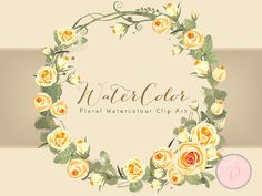 Yellow Ivory Rose Watercolor Florals Wedding by MagicalStudio