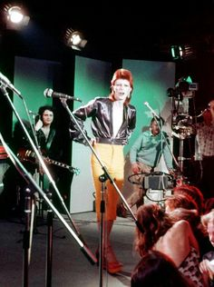 David Bowie performs at the Marquee Club, London, 1973, with Mick Ronson and Trevor Bolder shortly after The Spiders are ditched