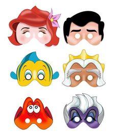 Printable MERMAID masks . Instant Download PDF file. Ariel, Eric, Flounder, Triton, Sebastian, Ursula via Etsy