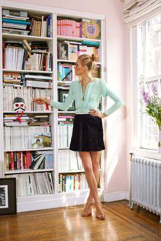 Black skirt, aquamarine top, camel shoes
