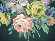 Cabbage Roses on Deepest Dark Turquoise Green VTG Barkcloth Fabric Curtain Drape