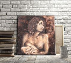 What a sophisticated woman nude art painting. Rich in textures and 3D effects. Check out this original on canvas!