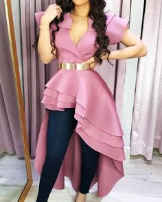 Style:Fashion Pattern Type:Solid Polyester Neckline:V-Neck Sleeve Style:Short Sleeve Decoration:Dip Hem Length:Asymmetrical Occasion:Casual Package Note: There might be Bodycon Dress With Sleeves, Maxi Dress With Slit, Fashion Pattern, Trend Fashion, Spring Fashion, Women's Fashion, Fashion 2018, Fashion Women, Fashion Online