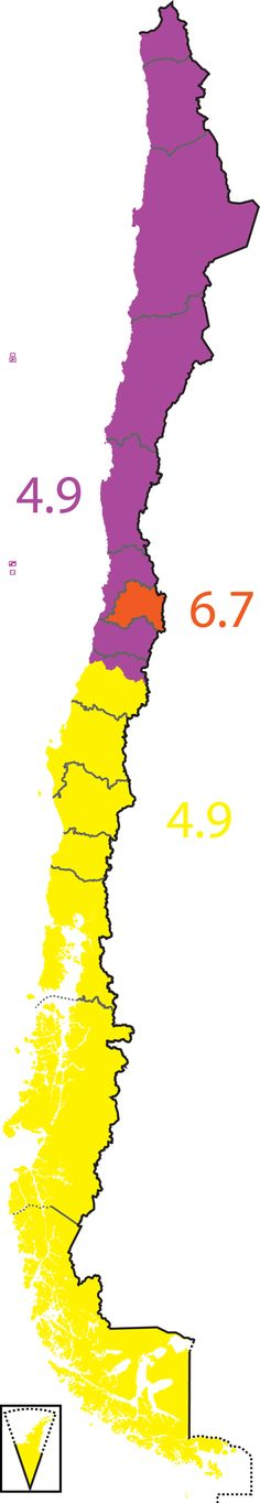 Map of Chile, divided by population (in millions)