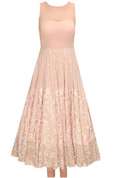 Peach thread and sequins embroidered anarkali set available only at Pernia's Pop-Up Shop.