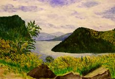 GALERIA PALOMO MARIA: LAGO LACAR ...SAN MARTIN DE LOS ANDES San Martin, Patagonia, Mountains, Nature, Travel, Saints, Landscape Paintings, Watercolor Painting, Argentina
