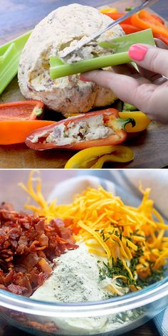 This cheddar bacon ranch cheese ball is the perfect low carb snack! Serve with sweet peppers, celery, or cucumbers to keep it low carb! #lowcarb #keto #cheeseball #snack #veggieAppetizer Yummy Appetizers, Appetizer Recipes, Dinner Recipes, Snack Recipes, Cold Dip Recipes, Appetizer Dinner, Seafood Appetizers, Low Carb Appetizers, Appetizer Ideas