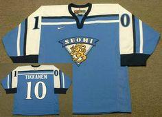Edmonton Oilers Mens Jersey 10 ESA TIKKANEN Blue 1998 Team Finland Nike Olympic Throwback Hockey Jersey.
